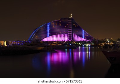 Dubai, UAE - January 16, 2017: Night view of the Jumeirah Beach Hotel.