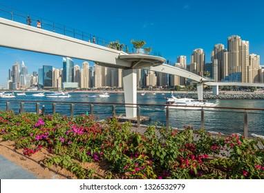 Dubai, UAE - January 16, 2019: New Pedestrian Bridge on the Bluewaters Island.