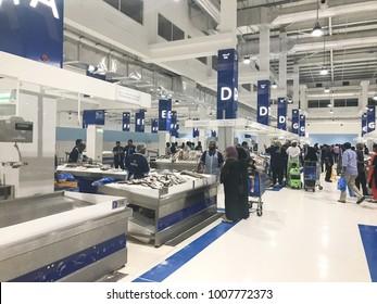 Dubai, UAE - January 19, 2017: New Dubai Fish Market, Waterfront Market Place in Corniche Deira, Dubai