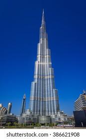 DUBAI, UAE - JANUARY 2: Burj Khalifa Building on January 2, 2015 in Dubai, United Arab Emirates, Middle East. Burj Khalifa is currently the tallest building in the world