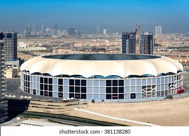 DUBAI, UAE - JANUARY 20, 2016: Dubai Cricket Stadium before world cup 2016