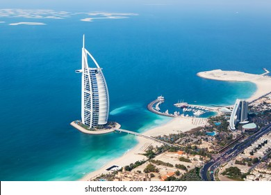 DUBAI, UAE - JANUARY 20: Burj Al Arab hotel on January 20, 2011 in Dubai, UAE. Burj Al Arab is a luxury 5 star hotel built on an artificial island in front of Jumeirah beach. Helicopter view