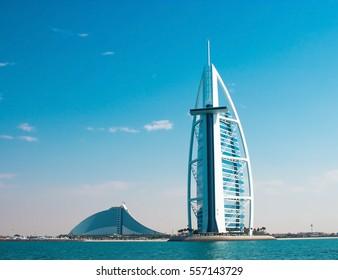 DUBAI, UAE - January, 2015: Two luxury hotels Burj Al Arab and Jumeirah Beach Hotel in Dubai. Back side of hotels, view from sea