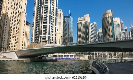 Dubai / UAE - january 2017: The bay, bridge and the skyscrapers of Dubai Marina.