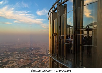 DUBAI, UAE - JANUARY 23, 2016: Burj Khalifa 124th Floor View from Top attraction tour of Dubai. Summer holiday attraction tour of Downtown Dubai.