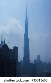 DUBAI, UAE - JANUARY 23, 2016: Vertical night panorama of Burj Khalifa tallest building in the world 829.8 m. Dubai Burj Khalifa, United Arab Emirates