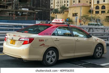 Dubai, UAE - January 24, 2016: Taxi in the city of Dubai - Dubai has an extensive taxi system RTA.