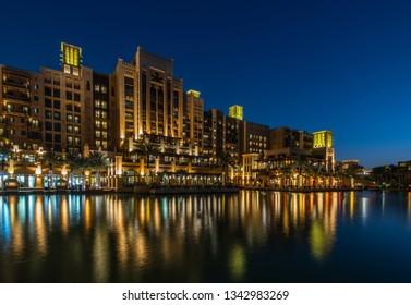 DUBAI, UAE - JANUARY 25, 2019: Mina ASalam Madinat Jumeirah Hotel at night.