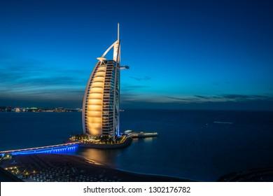 Dubai, UAE - January 28, 2019: Hotel Burj Al Arab against the background of the night sky.