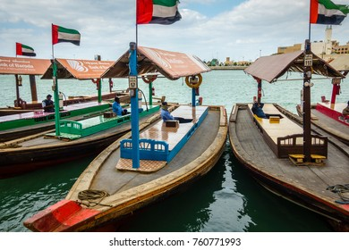 Dubai, UAE, january 29, 2016: Traditional abras are awaiting passengers on Dubai Creek, Bur Dubai.