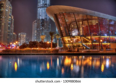 Dubai, UAE - January 29, 2019: District downtown. View of the New Dubai Opera house during night.