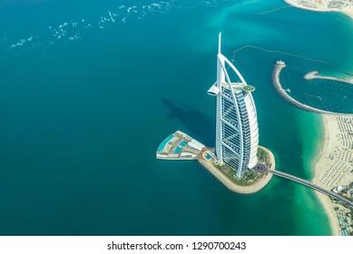 DUBAI, UAE - January 3: Aerial view of Burj Al Arab hotel,  famous luxury resort in Dubai, on January 3, 2019 in United Arab Emirates