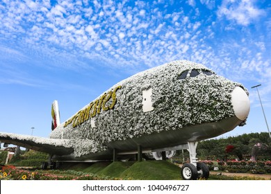 Dubai, UAE – January 31 2018 : Decorated Emirates Flights at Dubai Miracle Garden, Worlds largest natural flower garden featuring more than 100 million flowers planted at Dubai Land.