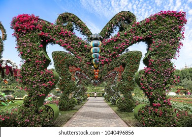 Dubai, UAE – January 31 2018 : Decorated butterfly at Dubai Miracle Garden, Worlds largest natural flower garden featuring more than 100 million flowers planted at Dubai Land.