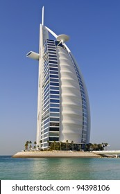 DUBAI, UAE - JANUARY 8: Burj Al Arab hotel on January 08, 2012 in Dubai. Burj Al Arab is a luxury 7 stars hotel classed as one of the most luxurious in the world. Is built on an artificial island.