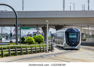 DUBAI, UAE - JULY 14, 2018: View of Dubai Tram. Dubai Tram runs in a loop around Marina and JBR area and links up with the Dubai Metro and the Palm Monorail.