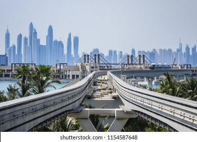 DUBAI, UAE - JULY 14, 2018: View of Palm Jumeirah Monorail. Line opened on April 30, 2009. Monorail connects the Palm Jumeirah to mainland. Palm Jumeirah Monorail is first monorail in Middle East.