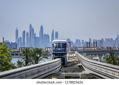 DUBAI, UAE - JULY 14, 2018: View of Palm Jumeirah Monorail from Palm Jumeirah Station. Line opened on April 30, 2009. Monorail connects Palm Jumeirah to mainland. It is first monorail in Middle East.