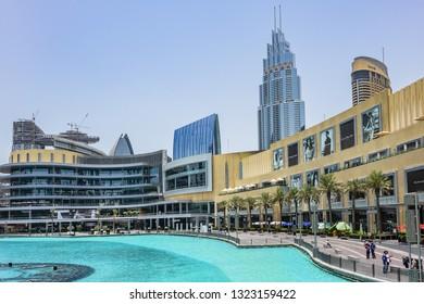 DUBAI, UAE - JULY 14, 2018: Large Burj Khalifa Lake - 30-acre manmade Lake in heart of Downtown Dubai between the Dubai Mall, Burj Khalifa and Old Town Island.