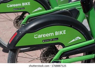 Dubai, UAE, July 2, 2020. Careem bike. Renting company for bicycles. Green bykes. Bicycle wheel. Rta Dubai.
