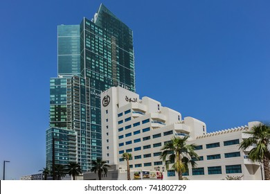DUBAI, UAE - JULY 25, 2016: View of Sheraton Jumeirah Beach Resort building. Situated in Dubai Marina, Sheraton Jumeirah Beach Resort is the perfect place to experience Dubai and its surroundings.