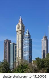 Dubai, UAE - July 8, 2019: Dubai downtown archutecture, contemporary buildings.