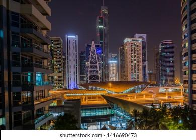DUBAI, UAE - JUN 5: DMCC Metro Station and Tram on the Sheikh Zayed Road, Dubai on Jun 5, 2019.