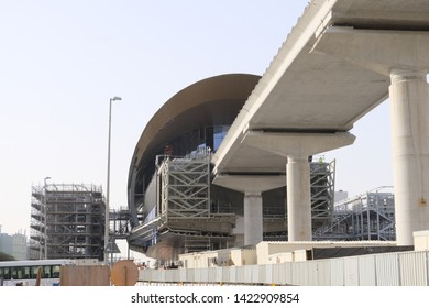 Dubai, UAE - June 10, 2019: Metrolink 2020 Construction nearly complete. This RTA rail connects red line to EXPO site and ends at Al Maktoum International Airport