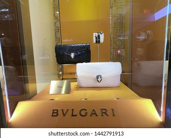 Dubai UAE June 2019 - Bvlgari shop window at night. A jewellery shop window is a window in a shop displaying items for sale or otherwise designed to attract customers to the store.