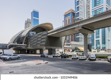 DUBAI, UAE - JUNE 26, 2016: View of Financial Centre metro station on Sheikh Khalifa Bin Zayed road. Guinness World Records declared Dubai Metro as worlds longest fully automated metro network (75 km)