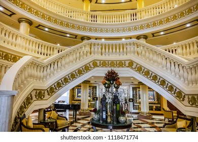 DUBAI, UAE - JUNE 26, 2016: Luxurious interior of Kempinski Hotel and Residences (129 luxury suites, penthouses and villas) on man-made island of Palm Jumeirah. United Arab Emirates.