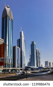 DUBAI, UAE - JUNE 26, 2016: View of Sheikh Khalifa Bin Zayed road traffic and buildings. This road is the main artery of the city.