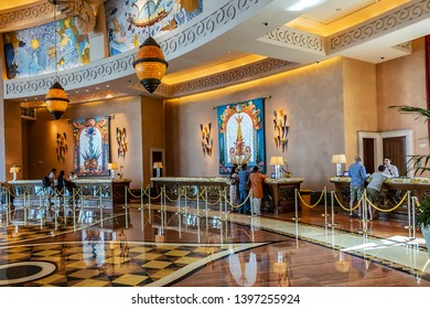 DUBAI, UAE - JUNE 26, 2016: Interior a wonderful lounge in 5 stars Hotel Atlantis (1,539 spacious guest rooms including 166 suites) on man-made island of Palm Jumeirah. United Arab Emirates.