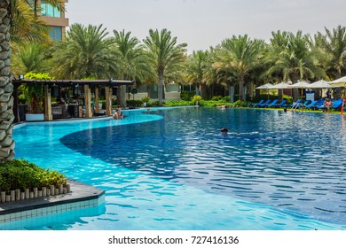 DUBAI, UAE - JUNE 26, 2016: Rixos The Palm Dubai - luxury multi-concept resort (230 rooms and suites) at end The Palm Jumeirah crescent. Beautiful Pools and area of resort.