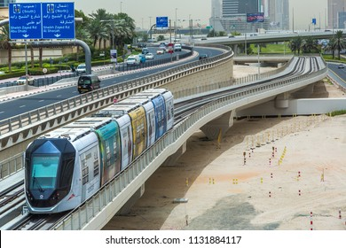 DUBAI, UAE - JUNE 26, 2018: New modern tram in Dubai, United Arab Emirates