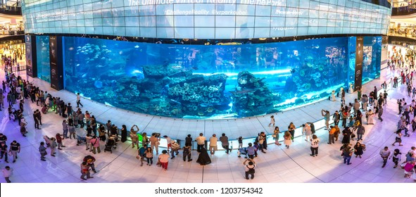 DUBAI, UAE - JUNE 26, 2018: Panorama of Aquarium in Dubai Mall - world's largest shopping mall in Dubai, United Arab Emirates