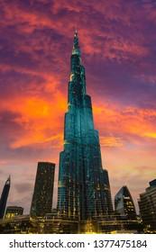 DUBAI, UAE - JUNE 26, 2018: Burj Khalifa at night in Dubai, United Arab Emirates