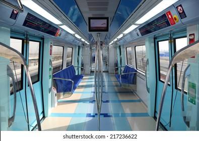DUBAI, UAE - JUNE 4: Interior of the new Dubai Metro Train. June 4, 2011 in Dubai, United Arab Emirates