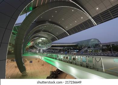 DUBAI, UAE - JUNE 5: Futuristic architecture at the Dubai Airport Terminal 3. June 5, 2011 in Dubai, United Arab Emirates