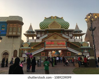 DUBAI, UAE - MAR 17: India pavilion at Global Village in Dubai, UAE, as seen on Mar 17, 2018. It is claimed to be the world's largest tourism, leisure and entertainment project.