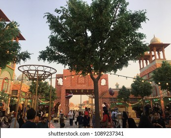 DUBAI, UAE - MAR 17: Pakistan pavilion at Global Village in Dubai, UAE, as seen on Mar 17, 2018. It is claimed to be the world's largest tourism, leisure and entertainment project.