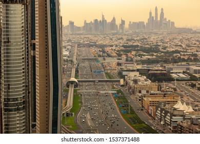 DUBAI, UAE - MAR 2: A wide landscape view of the Dubai Sheikh Zayed Road Mar 2, 2018. Sheikh Zayed Road is the most popular high way in UAE.