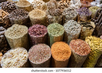 DUBAI, UAE, MAR 20, 2018: Bags of spices in a market stall