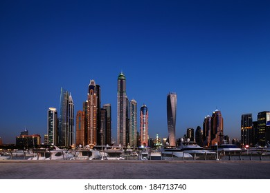 DUBAI, UAE - MAR 23: A skyline panoramic view of Dubai Marina showing the Marina and JBR on Mar 23, 2014 in Dubai, UAE. Dubai Marina is an artificial 3 km canal carved along the Persian Gulf shoreline