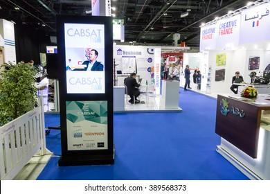DUBAI, UAE - MARCH 08, 2016: CABSAT 2016 in the Dubai World Trade Centre. CABSAT light box.