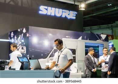 DUBAI, UAE - MARCH 08, 2016: CABSAT 2016 in the Dubai World Trade Centre. Shure stand.