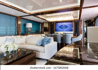 Dubai / UAE - MARCH 09 2019: Various boat details from the dubai boat show, mastercraft, pershing, interior exterior of luxury boats yachts, Foiler boat, boats in dubai harbour, dubai marina