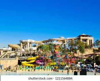 DUBAI, UAE - MARCH 1, 2014: Wild Wadi Waterpark. It is an outdoor adventures water park with many slides in Dubai, United Arab Emirates