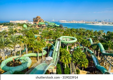 DUBAI, UAE - MARCH 1 2014: Aquaventure Waterpark in Atlantis. The Palm is the best Water Park in Dubai, packed with world first, record breaking rides.