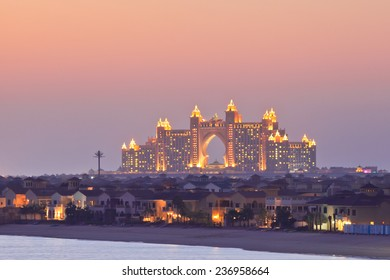 DUBAI, UAE - MARCH 1: View of the luxury hotel Atlantis The Palm on March 1, 2013  in Dubai, United Arab Emirates. Shot from the Palm Jumeirah at sunset.